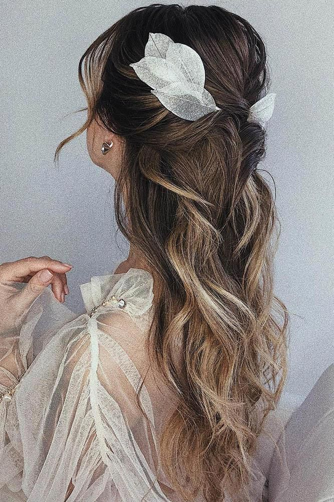 30 Cute And Easy Wedding Hairstyles ❤ easy wedding hairstyles wavy ombre long hair down half up with accessories ulyanaaster #weddingforward #weddin