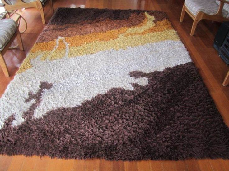 Original 70s shag pile rug in brown, tan, gold and cream In fantastic condition, one owner, nonsmoking household and no pets Measures 2M X 3M Collect from ..., 1117588747