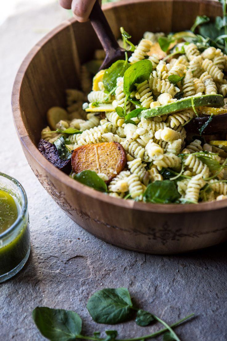 Basil Goat Cheese Pasta Salad | halfbakedharvest.com @hbharvest