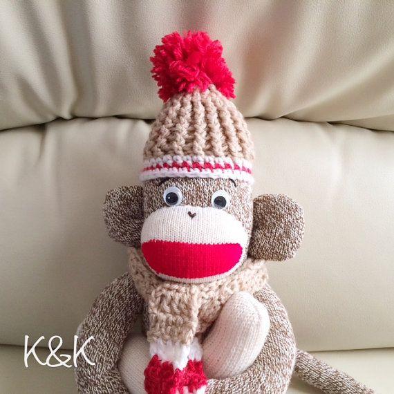 Sock Monkey Boy 93  Red Heel Socks Monkey by KnKCraftsAndDesigns