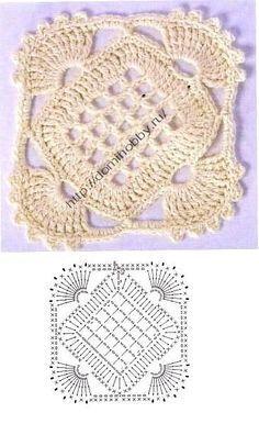 tons of beautiful squares w/diagrams                  Квадратный мотив крючком 16