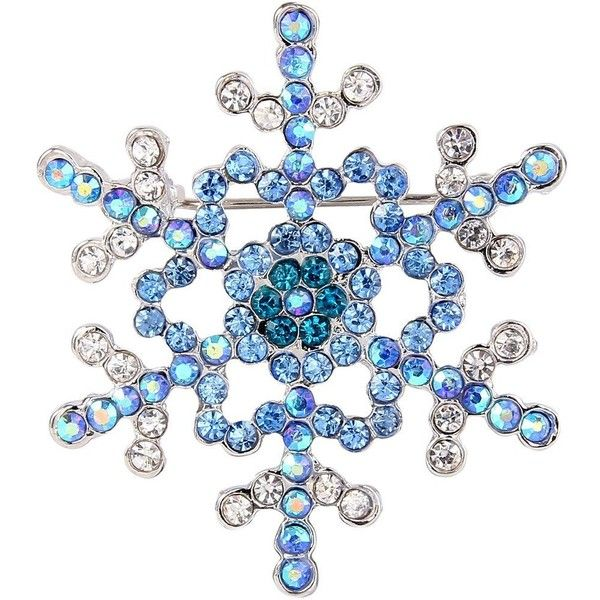 Amazon.com: EVER FAITH Women's Austrian Crystal Elegant Snowflake... ($15) ❤ liked on Polyvore featuring jewelry, brooches, snowflake jewelry, austrian crystal jewelry, silvertone jewelry, blue jewelry and snowflake brooch