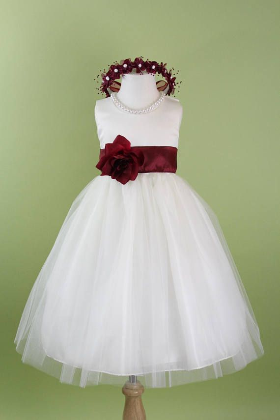 e81d02d1612 Flower Girl Dress with Classic Tulle Skirt (Burgundy Sash and Flower) for  Baby