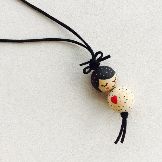 Beautiful wooden doll necklace, handpainted, modern girl necklace, children …