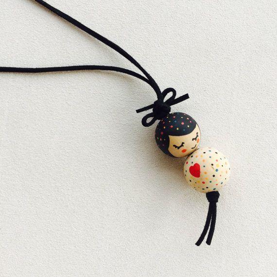 Precioso collar de muñecas de madera pintado a mano moderno niñas collar niños collar Gir …
