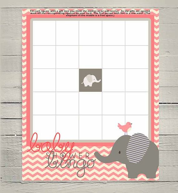 Printable Baby Girl Shower Bingo Game, Baby Elephant Bingo Game, Pink  Chevron, Party