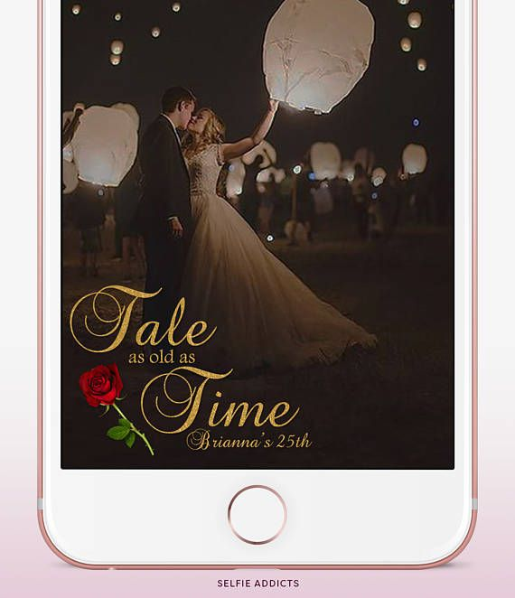 Tale As Old As Time, Beauty and The Beast Snapchat Geofilter Birthday, gold geofilter with gold border snapchat birthday custom geofilter