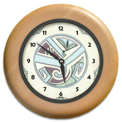 Hummingbird Spirit Round Wood Wall Clock - From our Southwestern Clocks category, this clock is inspired by a Four Mile Ruin Southwest pottery design. Hummingbirds signify optimism and sweetness.  $63.00