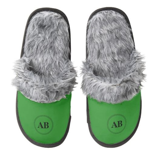 Forest green solid color with monogram pair of fuzzy slippers