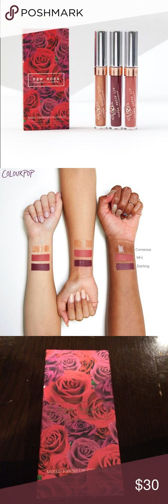 Colourpop x Karreuche Fem Rosa Lip Bundle makeup Lip bundle. All new and unopened. Comes individually boxed and then kept together In a sleeve. Info from site: Dainty to daring, this bundle includes 1 Ultra Glossy Lip and 2 Ultra Satin Lips to complement your feminine side.  Contessa: Ultra Glossy Lip; Warm gold sprinkled with pink and gold glitter in a Sheer finish Mrs.: Ultra Satin Lip; Deepened coral Darling: Ultra Satin Lip; Deep plum Colourpop Makeup Lipstick