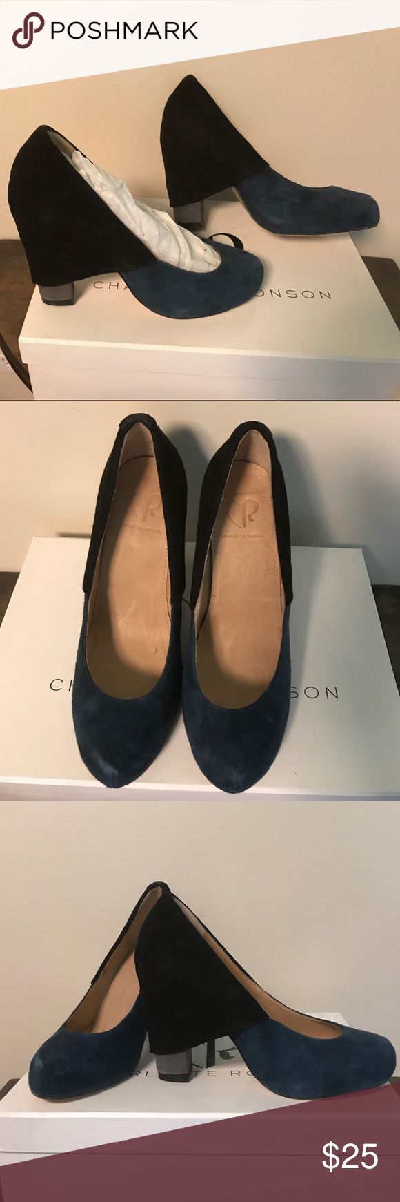 Charlotte Ronson Heels Navy and Black Suede heels. Only worn indoors once. Eye catching!! Smoke free, pet free home!! Charlotte Ronson Shoes Heels
