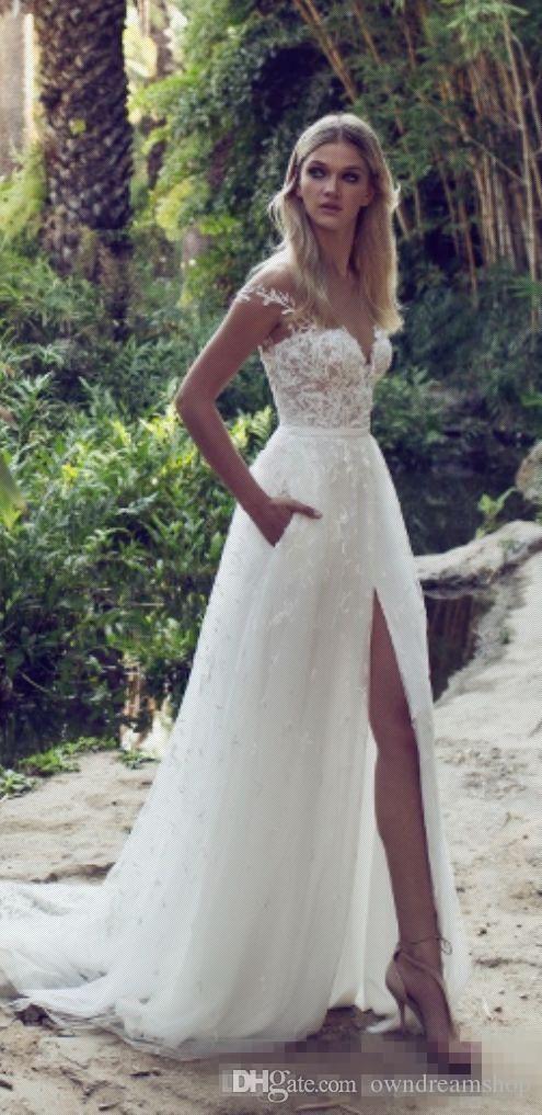 Rabatt Limor Rosen 2017 Eine Linie Spitze Brautkleider Illusion Mieder Jewel Gericht Zug Vintage Garden Beach Boho