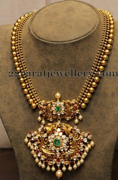 Gold Beads Chain with Nakshi Pendant | Jewellery Designs