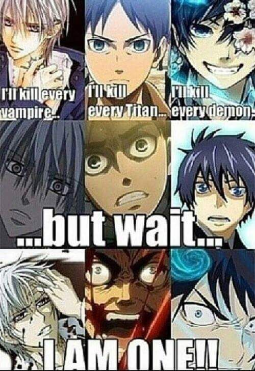 Vampire Knight. Attack on Titan. Blue Exorcist it's funny because Eren turns into a titan, the guy from Vampire knight is a vampire and in blue exorcist he id satiation's son. HA funny how they are ting to kill the things they are