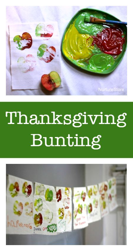 Thanksgiving bunting :: fall bunting :: apple print craft for kids