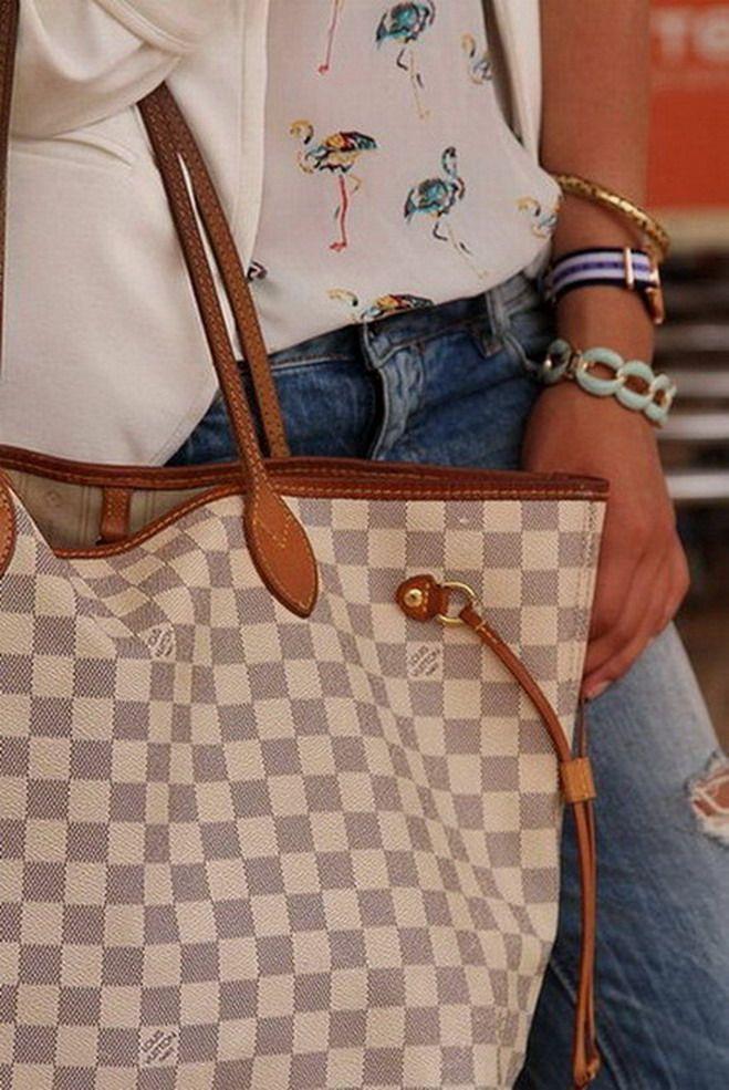 Louis Vuitton Neverfull Damier Azur Patina