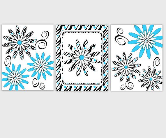 Zebra Print Wall Art Blue Black Flowers Young Girls Room Decor Teenage Girls Room Baby Nursery Wall Art 3 PRINT SET