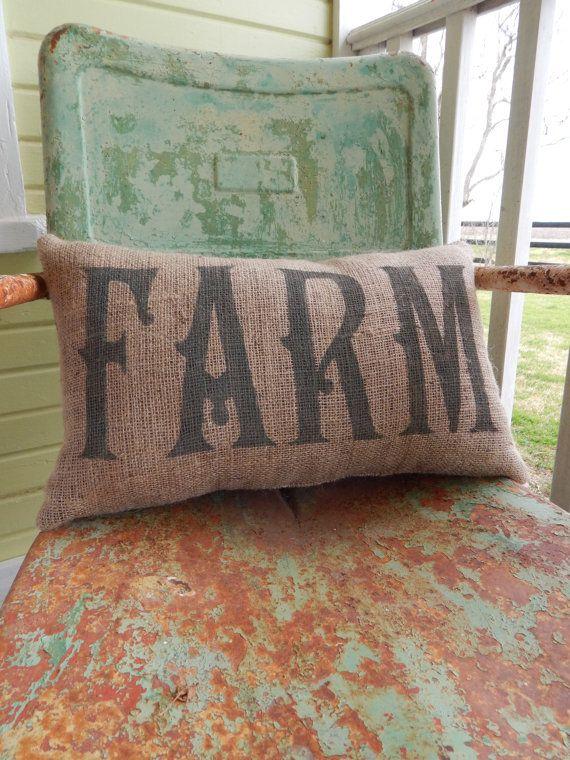 Painted Burlap FARM Throw Accent Pillow Custom Colors Available Home Decor Country Farm House Chic