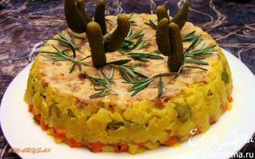 """Слоеный салат с масляной рыбой """"Раритетный""""   Кулинарные рецепты от «Едим дома!»"""