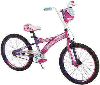 Watch her friends do a double take as they notice the totally cool double-sided design!  The new Double Take 20 inch Bike from Huffy has an awesome color scheme that flips from one side to the other for added fun!  Give her the first taste of real independence and enjoy watching her storm down the sidewalk on this cool new ride. This 20 inch bike is the perfect choice for independent kids who want a unique ride designed just for them - the low-maintenance single-speed drive train pedals…