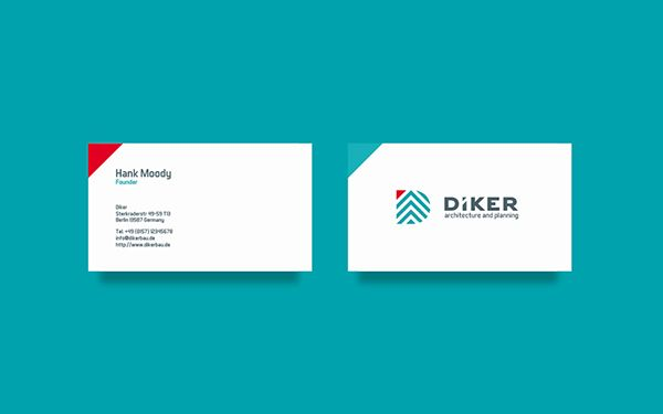Diker Bau - The Teal Blue color choice posistions the the direction to the Sky, whereas the Red touch gives the brand the feel of warmth and heat from the sun.  The Typeface part harmonically  coresponds with the logo mark curves and helps to reach the balance in the whole Logo.