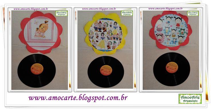 Quadro decorativo Disco de vinil + EVA http://www.amocarte.blogspot.com.br/