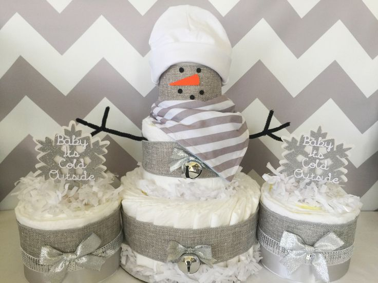 SET OF 3 Baby Itu0027s Cold Outside Diaper Cakes, Neutral Winter Theme Baby  Shower Centerpieces