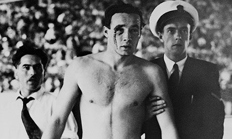 50 stunning Olympic moments No7: Hungary v Soviet Union: blood in the water There was much more than a place in an Olympic final at stake when Hungary took on the country that just invaded their own | Hungary's Ervin Zador is escorted from the pool with blood pouring from his cut eye during their 1956 Olympic water polo win over Russia. Photograph: Bettmann/Corbis
