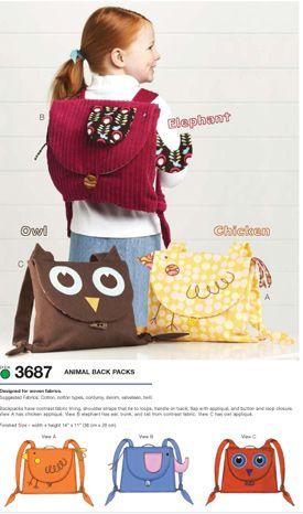 $9.19 Kwik Sew 3687KSP Cute #backpack #pattern