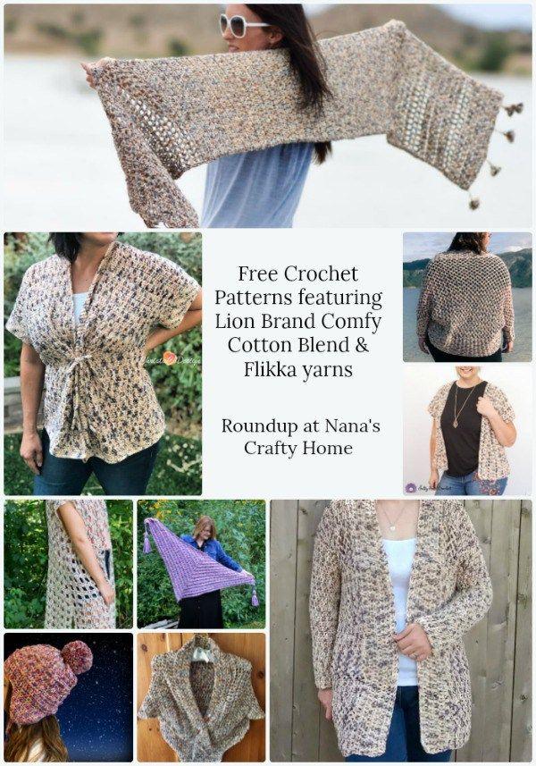 Lion Brand Comfy Cotton Blend Flikka Yarns Crochet Pattern Roundup Crochet With Cotton Yarn Crochet Vest Pattern Free Cotton Yarn Crochet Pattern