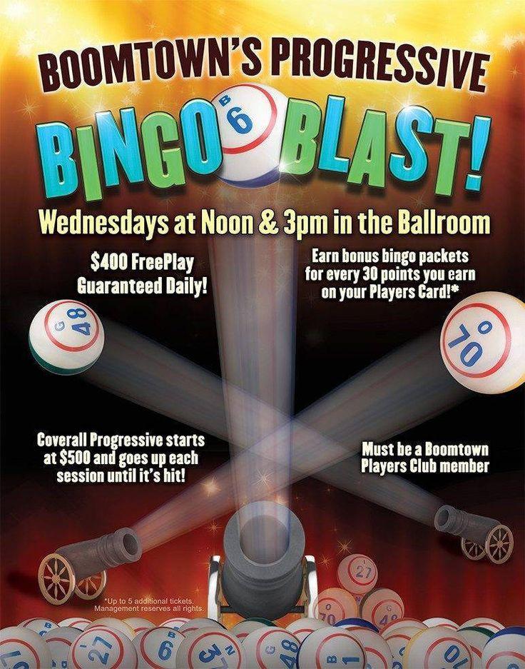 Boomtown Casino Hotel Bingo Blast! Wednesdays at Noon and 3pm in the Ballroom!