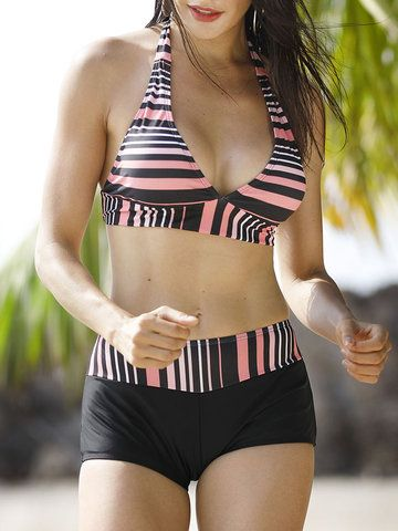 507c3ef7c Plus Size Sexy Striped Halter Backless Bikini Sets Swimwear For Women