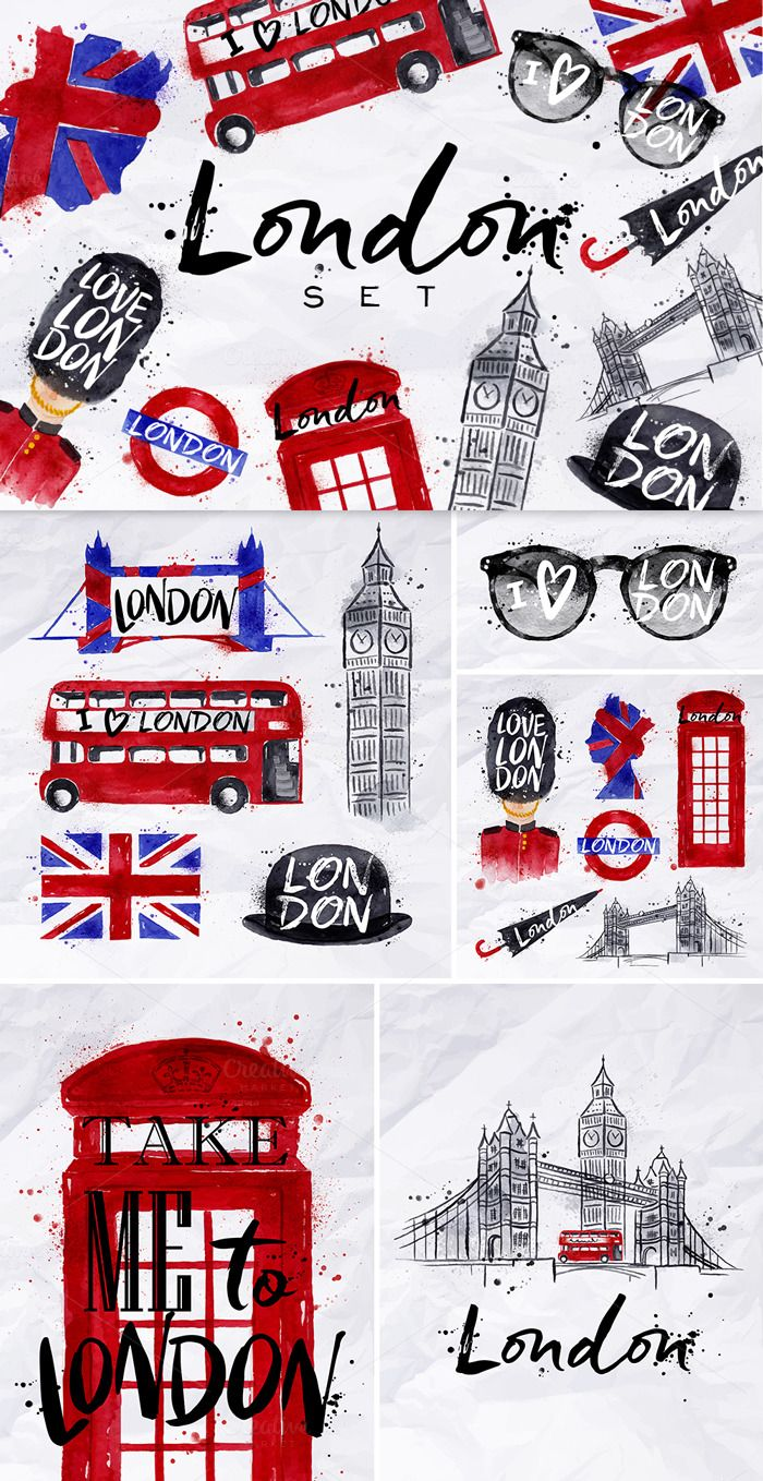 London Set by Anna on @creativemarket: London Watercolor Symbols (sunglasses, Tower Bridge, Big Ben, phone booth, umbrella, underground, bearskin hats, flag, bus, bowler hat, ) stylized hand-drawing blots and stains with a spray paint on crumpled paper.