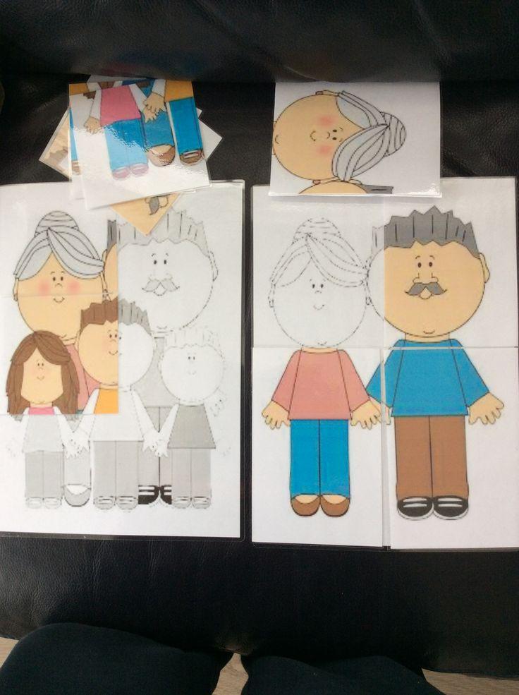 Puzzelen met de jongste kleuters in thema grootouders. Heel eenvoudig zelf te maken met een prent van internet *liestr*