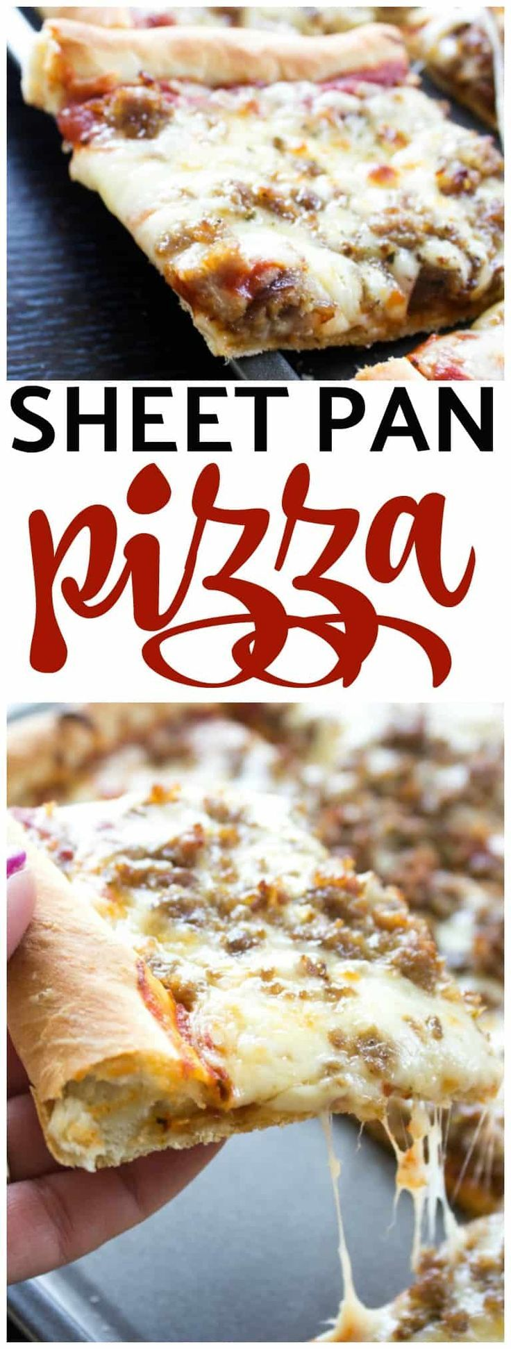 SHEET PAN PIZZA - Simple, made from-scratch with a no rise pizza crust & loaded with your favorite toppings, it will become your Friday night to-go-to. #pizza #pizzadough #dough #pizzaparty #sheetpan #recipe #familydinner