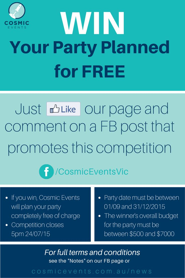 NOW CLOSED - Win your party planned for free! www.facebook.com/CosmicEventsVic
