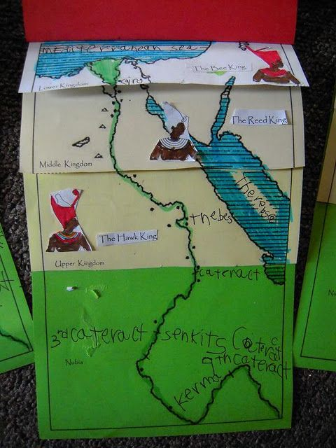 Printable Ancient Egypt map. This flip book idea can be used to show the different civilizations, the empires, flip book to show old world over new world.....many ideas..........