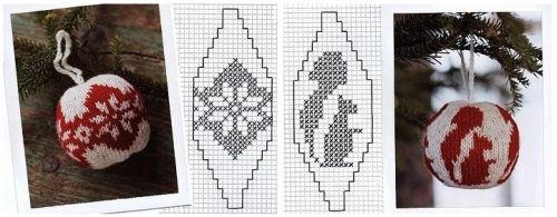 шары на елку, вязание, жакард, схема узора