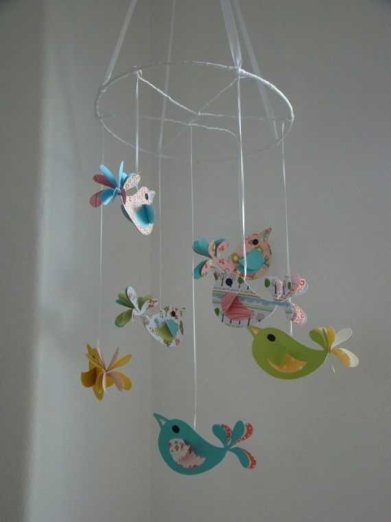 Pretty Birds Baby Mobile Nursery Decor by magicalwhimsy on Etsy, $45.00