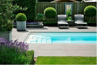Rectangular In-ground Swimming Pool with full width steps. simple, elegant