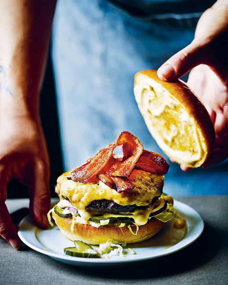 This is a burger with no holds barred – created by Tom Byng and Fred Smith of Byron, it's topped with seriously cheesy Welsh rarebit, a spicy mustard sauce and rashers of streaky bacon.
