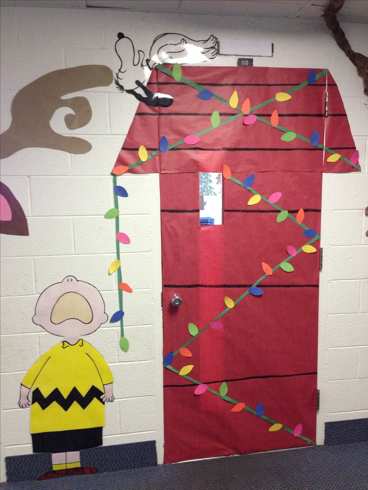 Snoopy and Charlie Brown Christmas door decorations