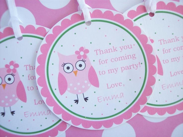 Owl Birthday Tags