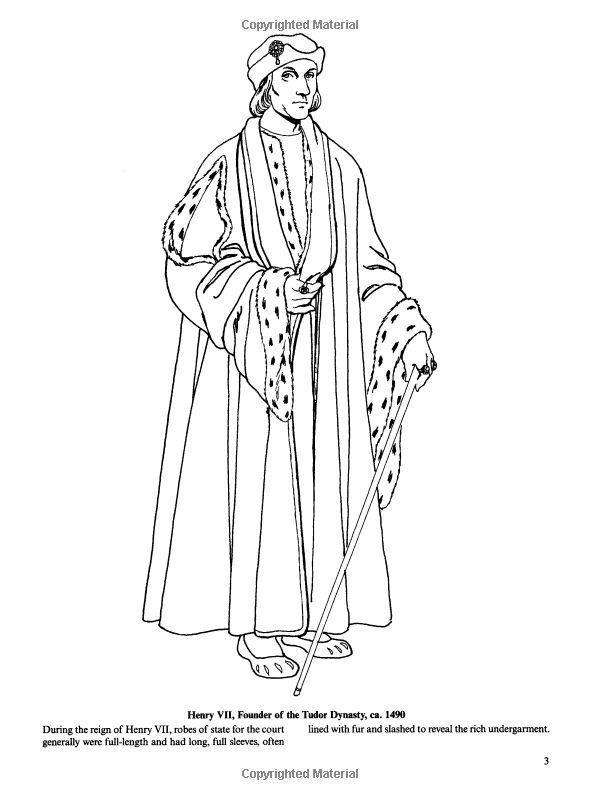 Tudor And Elizabethan Fashions Dover Fashion Coloring Book Tom Tierney 9780486413204
