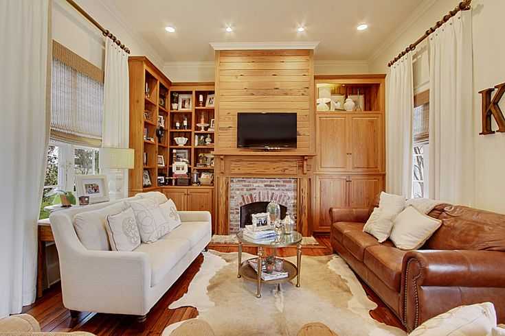 Living Room Neutral Colors Cowhide Rug Linen Panels With Trim White Walls Warm Living Our
