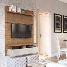 Painel para TV 40 Polegadas Zeus Natural e Off White 120 cm