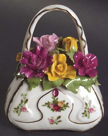 Musical Victorian Purse in the Old Country Roses pattern by Royal Albert China