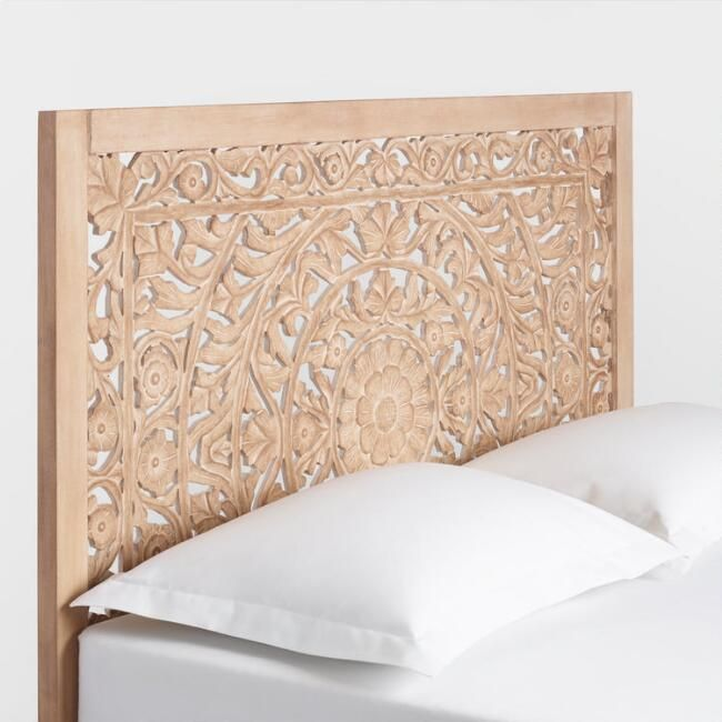 Swoon Worthy World Market Natural Carved Headboard Carved Headboard Bed Frame And Headboard Wood Carved Headboard