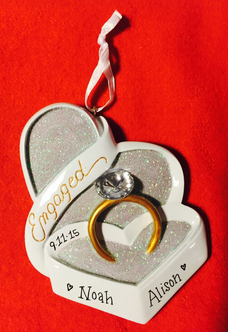 Engagement ring box christmas ornament - Engagement Ring In Heart Shaped Box Personalized Christmas Ornament Engagement Ornament Personalized Ornament