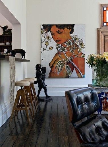 big wall piece + short floor sculpture in dark color //David Bromley Art
